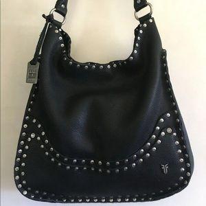 Frye Nikki Nailhead Black Large Shoulder Bag